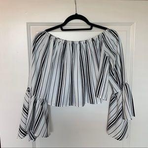 ♡ Black & White striped blouse